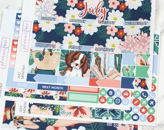 July Monthly Kit | Monthly Sticker Kit for Erin Condren, Monthly View, Summer Kit, Vacation, Holiday, Floral Kit, Dog, Beach, Navy, Orange