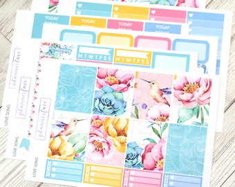 Love Song | Planner Sticker Kit, Weekly Kit for Erin Condren, Hummingbird, Floral, Flowers, Tropical, Music Notes, Summer, Spring, Full Kit
