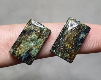 Fuchsite Fuchsite with Kyanite natural stone Top quality Handmade Russian cab Rare gemstone Blue Kyanite cabochon size: 77 x 57 mm
