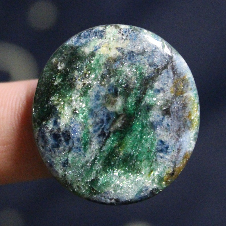 Blue Kyanite Fuchsite Rare gemstone cabochon size:  32 x 30 mm Fuchsite with Kyanite natural stone Top quality Handmade Russian cab