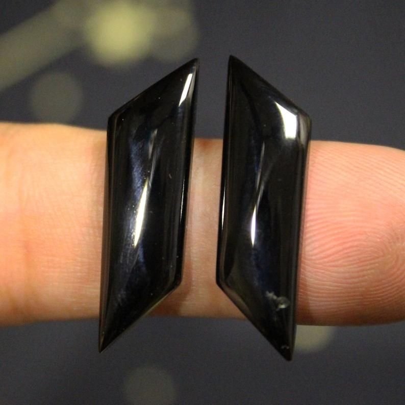 natural stone Top quality Black Spinel Raw Rare gemstone,23,9\u04458,5\u04453,7 mm PAIR Thai Black Spinel cabochon Rare Black Spinel Pleonaste