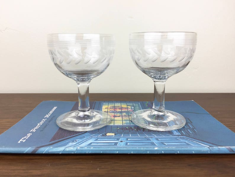 Pair Of Vintage Etched Leavesgarlands Mini Coupe Glasses For Etsy