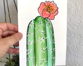 Cactus Bloom Original Painting - Watercolor and ink on paper Cactus Flower Art