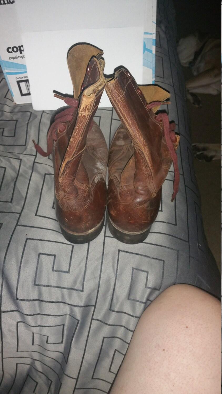 Ejército de los E.E.U.U.  botas    vintage original guerra de Corea ERA rojizo marrón puntera tamaño6 B r 1 2 7f78fa