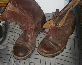U.S. Army boots vintage  original Korean WAR ERA  russet brown toe cap  B Size6 1/2 r