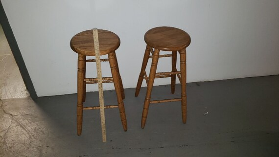 Miraculous Pair Of Oak Bar Stools Perfect Shape Squirreltailoven Fun Painted Chair Ideas Images Squirreltailovenorg