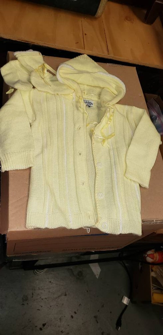Hooded Baby sweater and booties in yellow