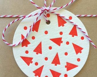 Letterpress Christmas Gift Tags, Christmas Tree Gift Tags, Holiday Gift Tags Set of 6 Tags