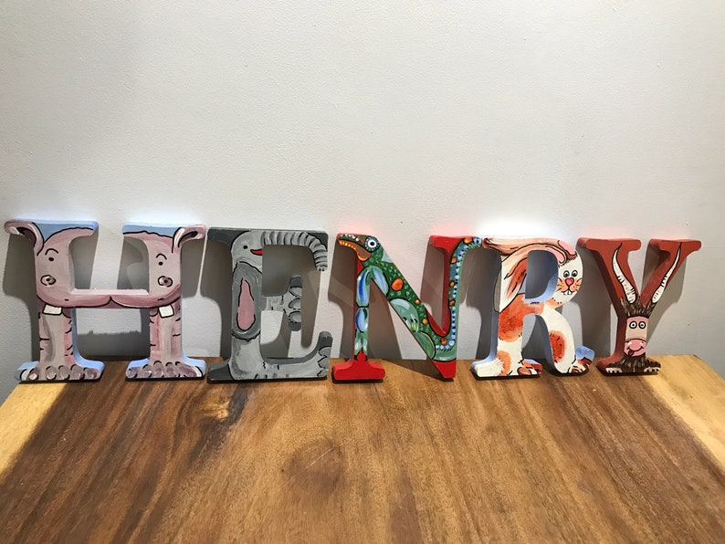 Hand Painted Animal Letters Wooden For Childrens Baby Nursery Or Bedroom Freestanding Colourful Letters Personalised