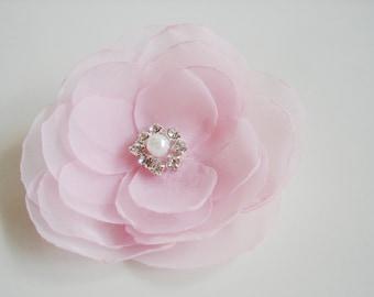 Pink  Flower Girls Hair Clip, Bulk Flower Girl  Hair Accessories,  Pink Wedding Flowers, Brooch Sash Pink Bridesmaid Hair Flower Clip
