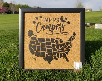 Happy Campers with Frame - Framed Pinnable Cork Map of the USA - United States Travel Map / Bulletin Board / RV Camping Tracker