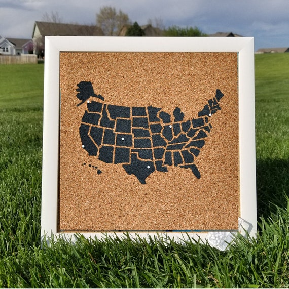 Us Map On Cork Board.Usa Map With Frame Framed Pinnable Cork Map Of The Usa Etsy