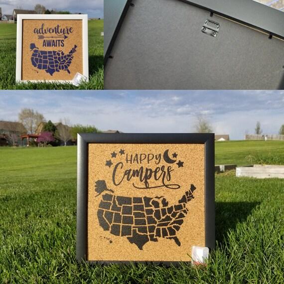 Wanderlust Push Pin Cork Travel Map of the United States//Wanderlust Travel Gift//USA Bulletin Board//US Corkboard
