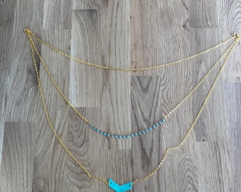 long necklace, triple necklace chain