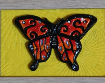 Butterfly Totem Animal Clay Sculpture Wall Hanging