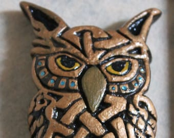 Owl Animal Totem Clay Sculpture Wall Hanging