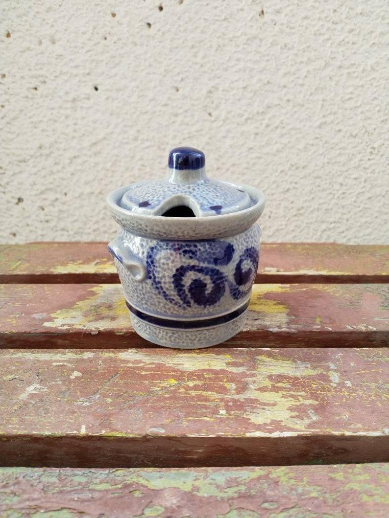 Vintage German Blue sugar bowlMarzi and Remy sugar bowl with lid and no scoopSugar containersmall ceramic sugar bowl
