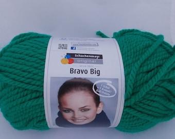 Green yarn, super chunky, knitting yarn, crochet yarn, Schachenmayr Bravo Big Color, super bulky yarn, cheap yarn, yarn lot, roving yarn
