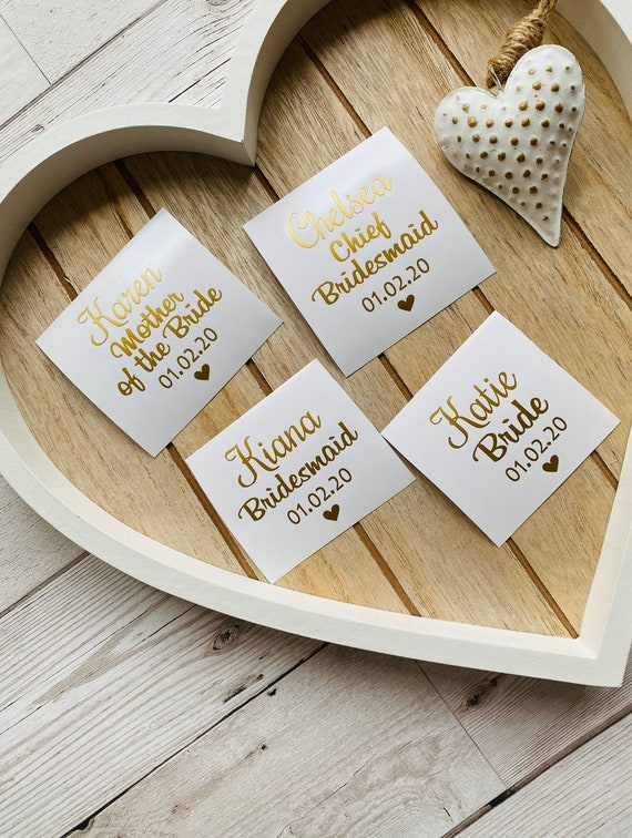 6 x Personalised wedding engagement ring /& initials vinyl sticker for wine glass