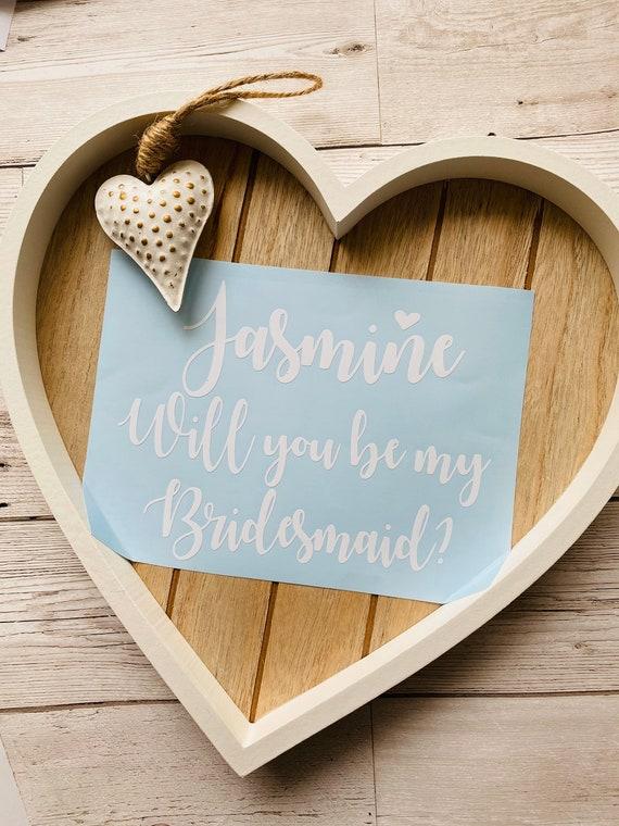 WILL YOU BE MY BRIDESMAID A5 DECAL GIFT BOX BALLON WEDDING DIY BRIDE