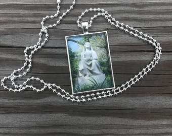 Praying Mourner Cemetery Art Pendant Necklace