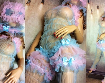 PVC BIANCO COMPLETO Pinny Grembiule Costume con Frilly Pizzo