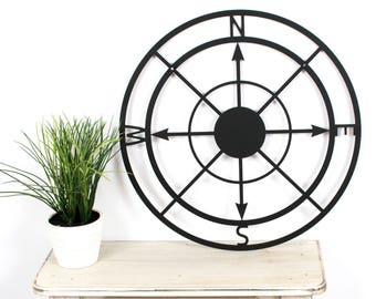 Compass Wall Art / Metal Wall Art / Compass Wall Decor / Metal Compass /  Compass Rose / Black Compass / Metal Decor / 12 Inch