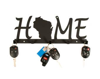 Wisconsin Home Sign / Key Holder For Wall / Wisconsin Decor / Wisconsin Gift Idea / Wisconsin Wall Art