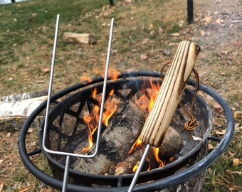 Roasting The Grill Thing Hot Dog //Marshmellow Roaster Adapter Camping Fire Pit