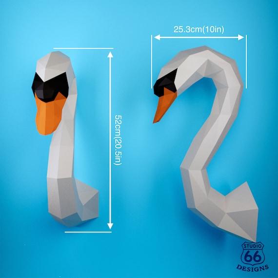 Papercraft Swan Paper Craft Swan 3d Paper Craft Sculpture Etsy