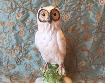 Owl Figurine Made in Italy, MidCentury White Owl, Italian Pottery