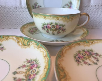 Vintage Noritake China, 14 Pcs, 1930s Noritake Claremont, Green Floral Dishes