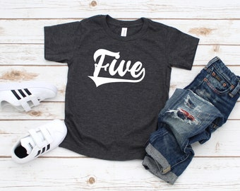 5th Birthday Shirt 5 Year Old Girls Boys Five Fifth