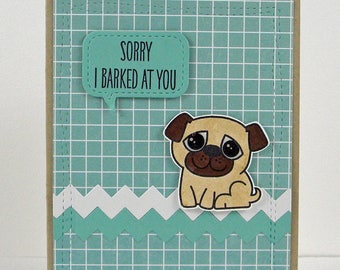 Pug Card, Sorry Pug Card, Sorry Card, Apology Card, Pug Apology Card