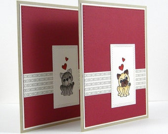 Pug Valentine, Pug Anniversary Card, Pug Thank You Card, Pug Love, Pug Just Because Card, Handmade Pug Card