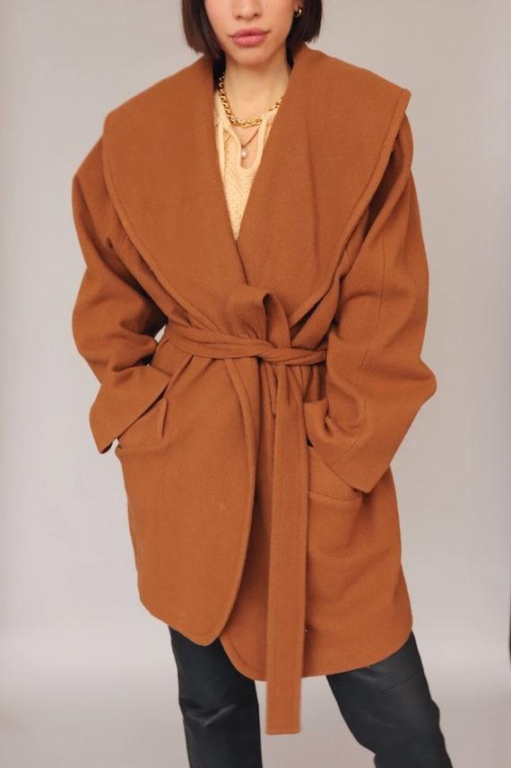 Vintage Brown Wool Wrap Coat