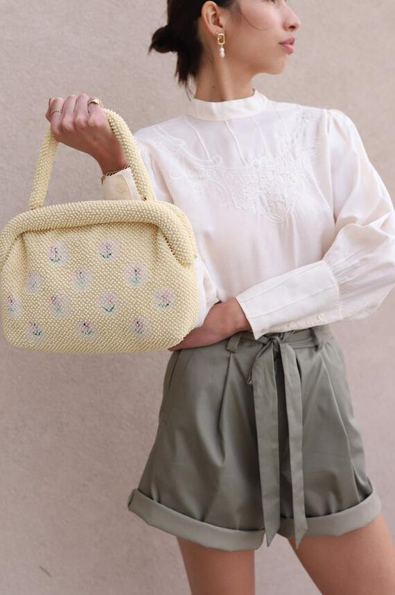 Vintage Cream Beaded Handbag