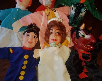 1960s Hand Puppets collection of 6