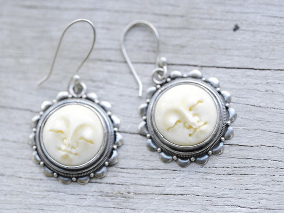 Sterling Silver Carved Sun Round Drop Earring Carved Bone Etsy