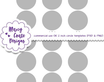 2 inch circles template PSD, PNG clipping masks, commercial use, collage sheet template, jewelry, scrapbooking, ATC cards, cupcake toppers