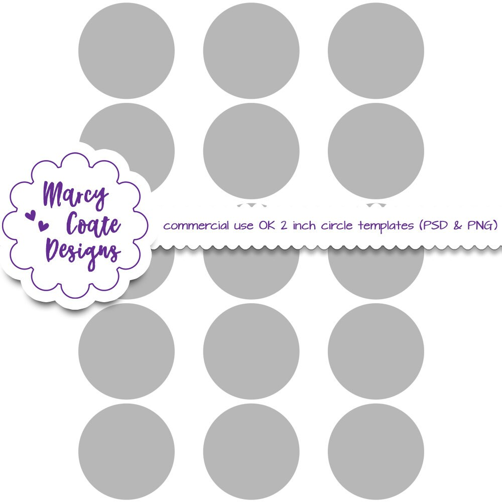 2 Inch Circles Template Psd Png Clipping Masks Commercial Etsy