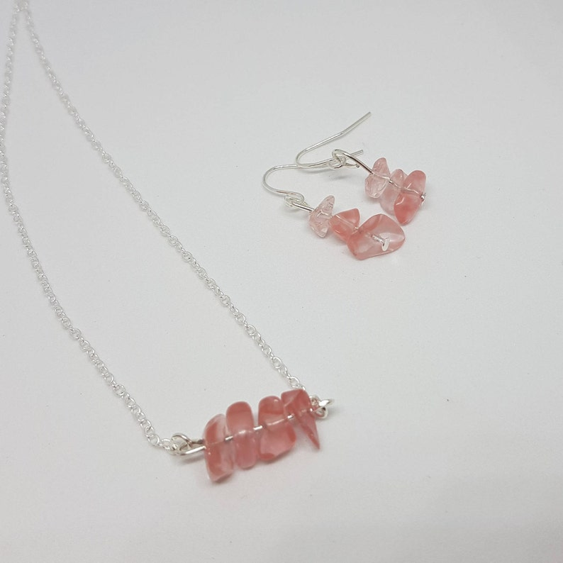 Silver Plated Earrings and Necklace Gift Ideas for her Cherry Quartz Earring /& Necklace Set