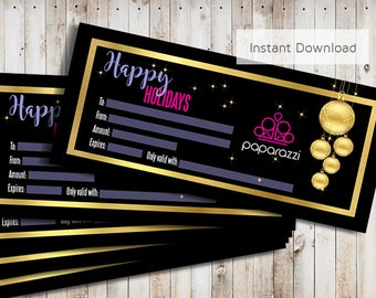 Paparazzi Christmas Gift Card INSTANT DOWNLOAD Printable Holiday Gift Certificate Personalized Gift Certificate