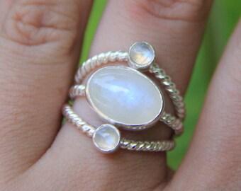 Ubuntu Ring, Moonstone Ring, Sterling Silver Ring, Handmade Ring, Statment Ring, Sunsara Jewellery
