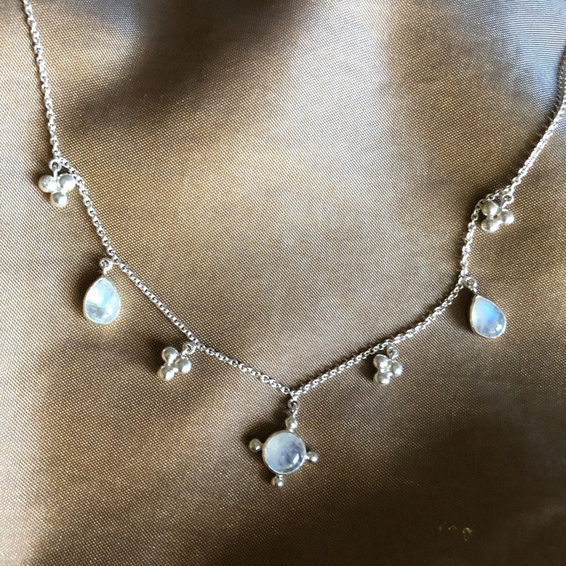 Charm Necklace Boho Necklace Moonstone necklace Sterling Silver Jewelry Silver Jewellery Sterling silver necklace Delicate Necklace