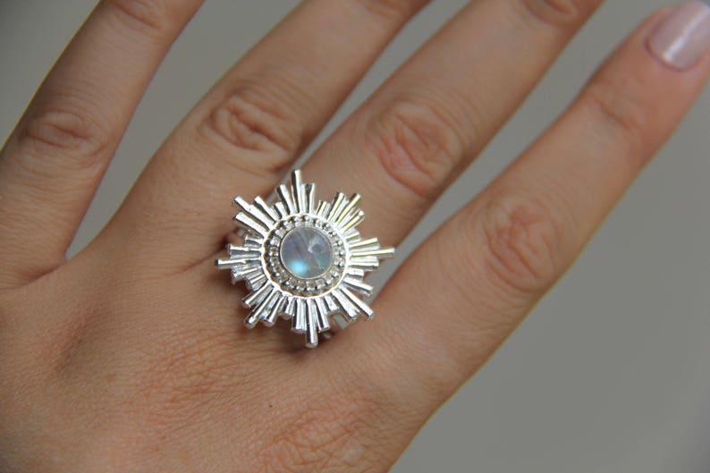 Gemstone ring Sunsara Jewellery Sterling Silver 925 Teardrop Handmade Sun Ring Sun Love Ring: Moonstone Ring Stone ring Rainbow