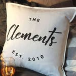 Custom family name established throw pillowcase, custom pillow, last name pillow, customizable pillow, personalized pillow, anniversary gift