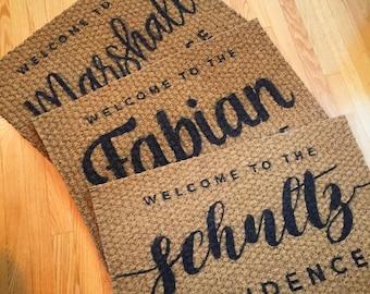 Custom name outdoor mat, personalized front door mat family established, custom doormat, welcome Mat Door Mat, custom rug, welcome mat, coir