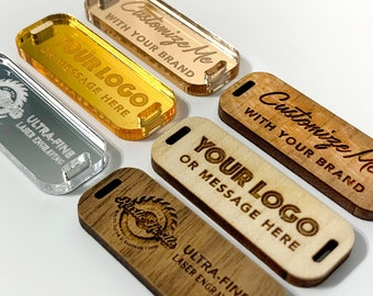 Customized Logo Product Tags, Personalized Buttons for Knitted and Crochet Items in Wood and Mirrored Acrylic Plastic