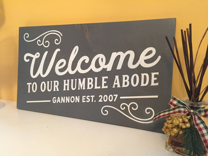 Welcome painted wooden family sign welcome sign family sign image 0